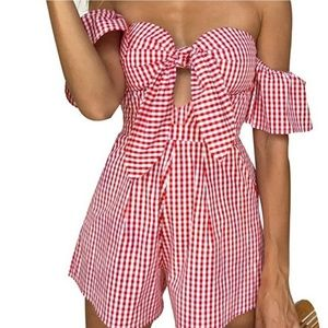 Dresses & Skirts - Red/white gingham romper